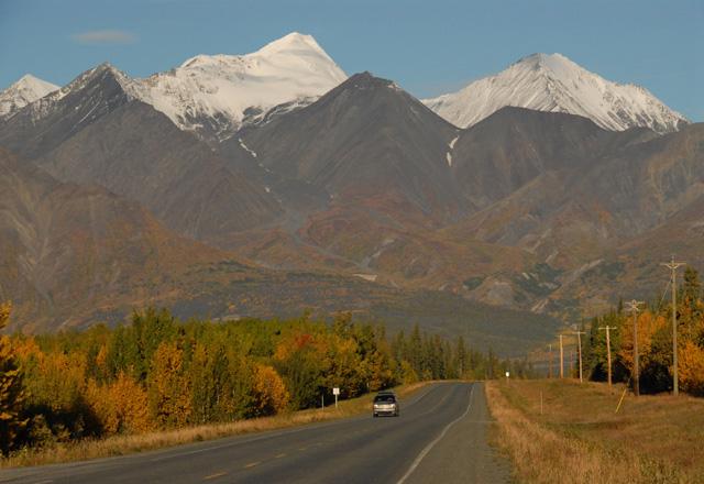 Highway in Haines Junction in Alaska