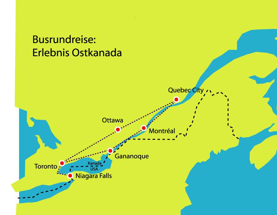 Route Busreise Ostkanada Ontario Toronto