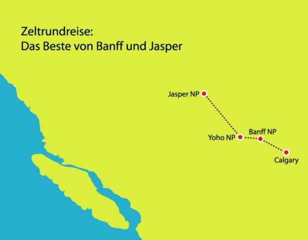 """Zeltrundreise """"Das Beste von Banff und Jasper"""""""