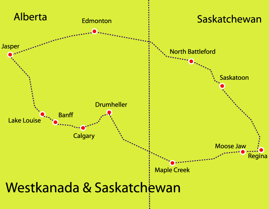 Reise mit dem Mietwagen in Westkanada und Saskatchewan