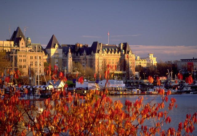 Gruppenreise auf Vancouver Island mit Hafenblick in Victoria