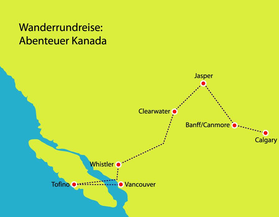 Route Wanderrundreise von Calgary nach Vancouver