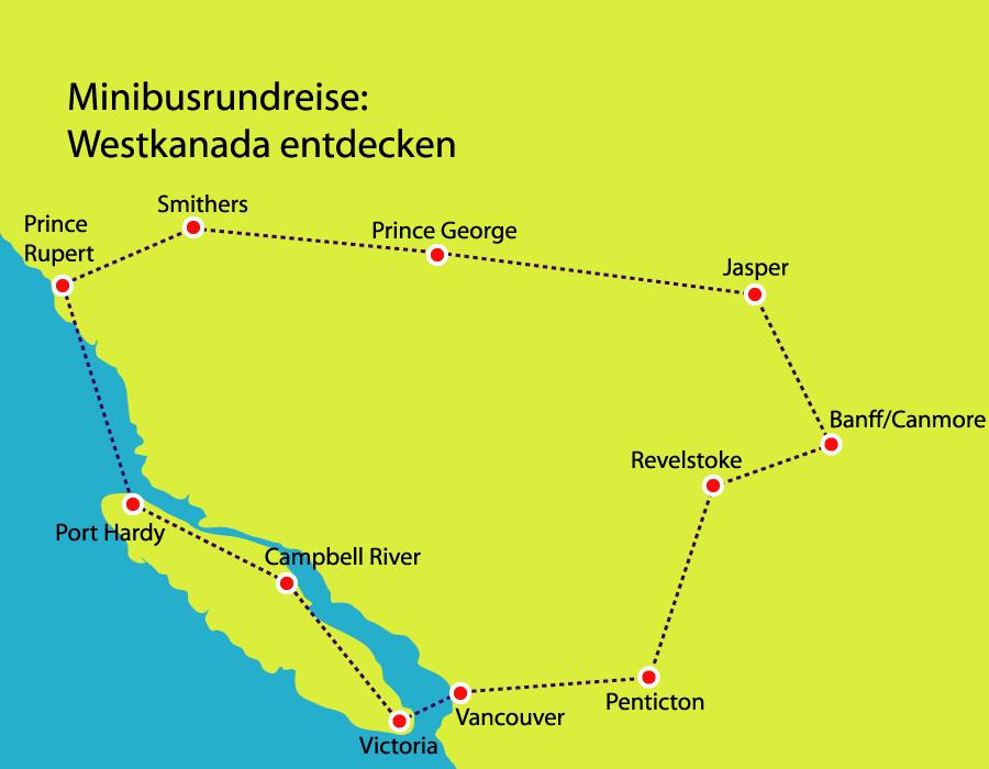 Minibusreise Reiseverlauf durch Westkanada Vanouver und Calgary