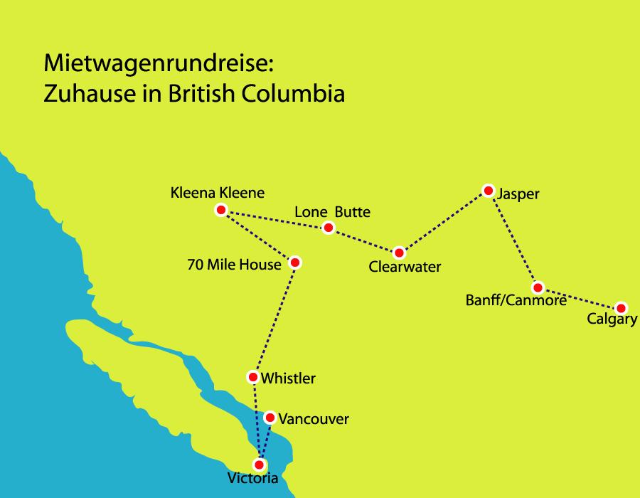 Mietwagenreise von Calgary nach Vancouver in Westkanada