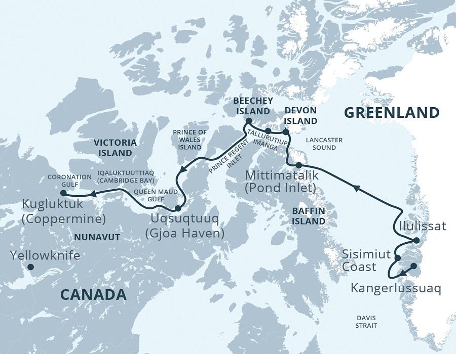 Kreuzfahrt Karte Kanada Grönland